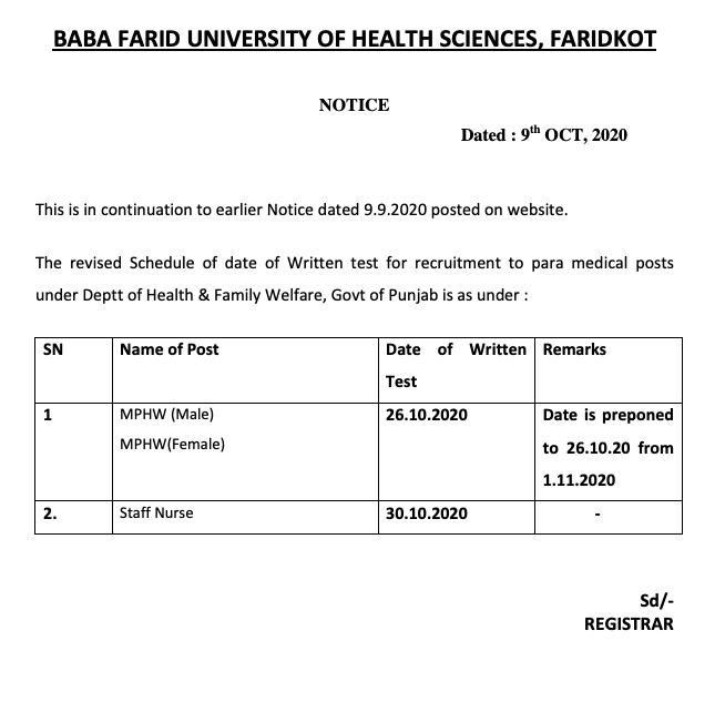 bfuhs staff nurse exam date notice released - download bfuhs admit card. the exam date is 30th October 2020