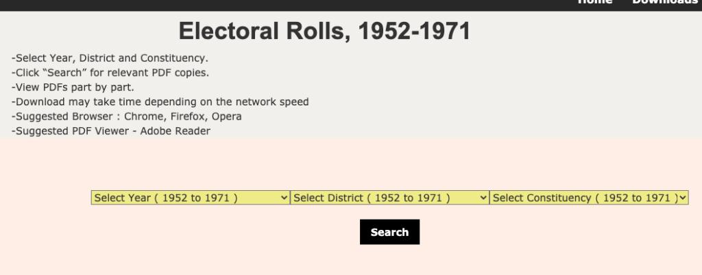 oldelectoralrolls.wb.gov.in website homepage to put basic information