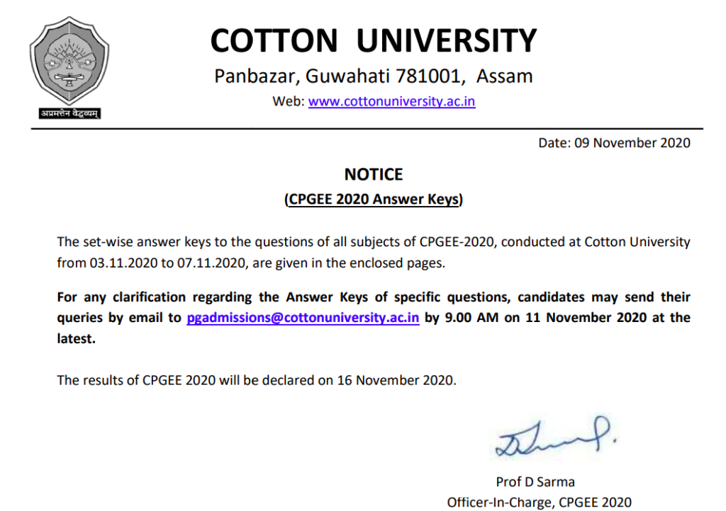 Cotton University CPGEE Merit List 2020 published here today