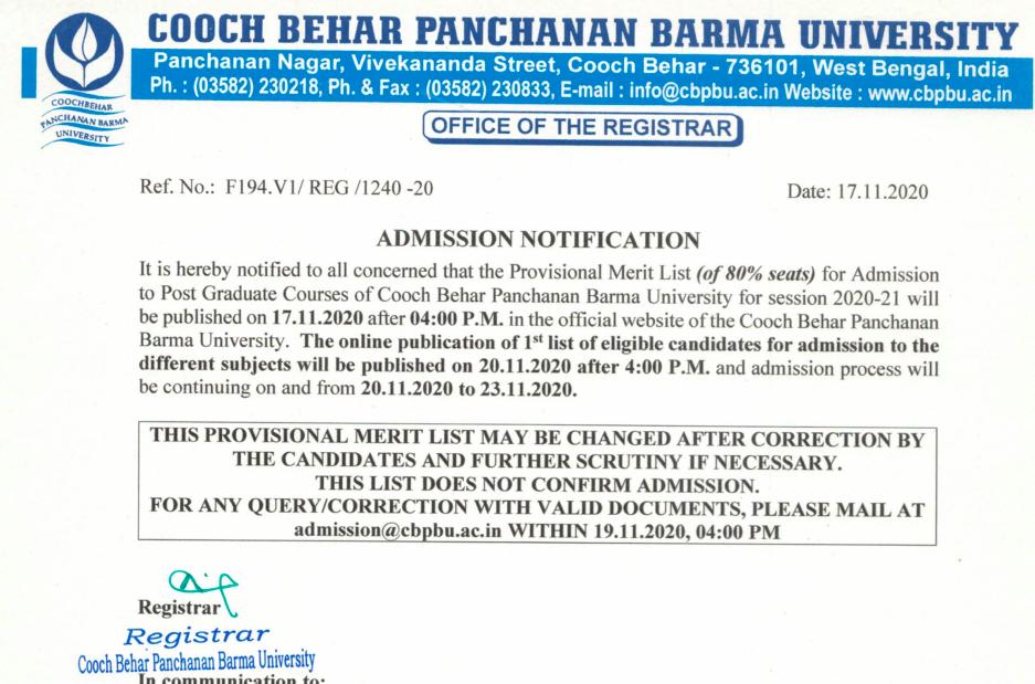 cbpbu pg merit list date notification 2020