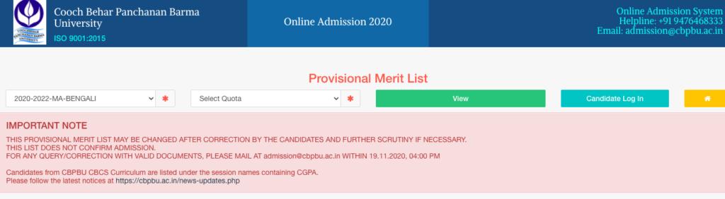 cbpbu draft merit list for ma, msc, mcom has been released