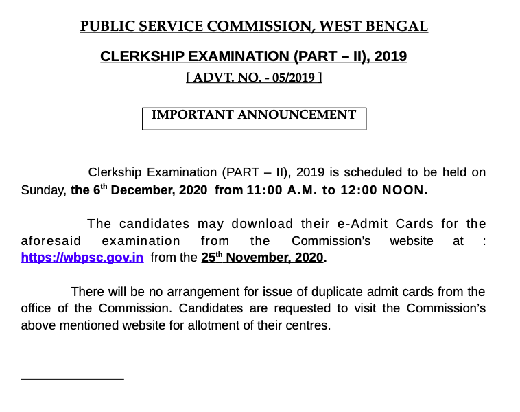 WBPSC Clerkship mains exam date notice - admit card to be published on 25 november
