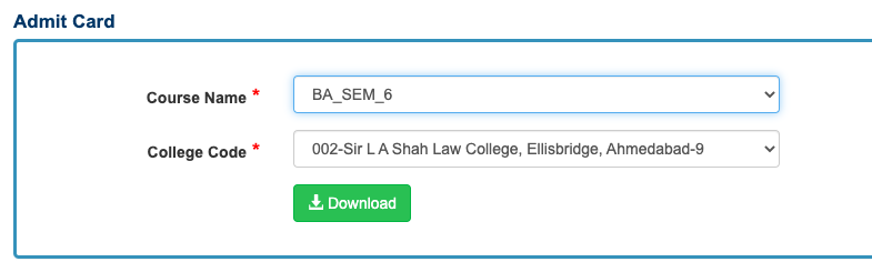 Gujarat University Hall Ticket 2020 1 2 3 4 5 6 th Semester Admit Card Download now!!!