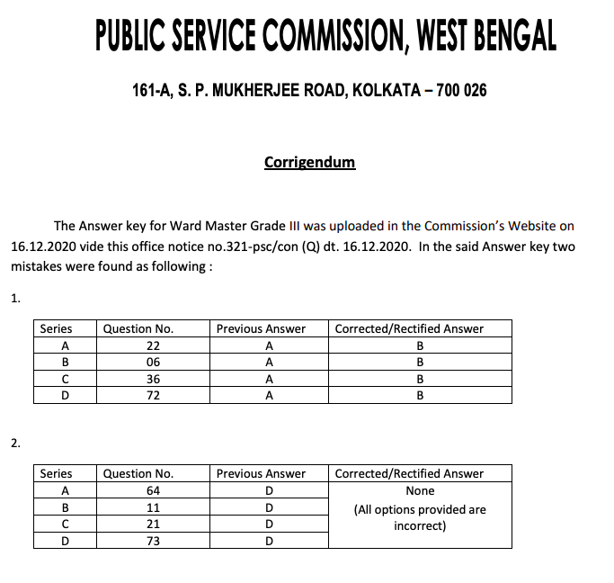 WBPSC Ward master answer key correction notice 2020-21