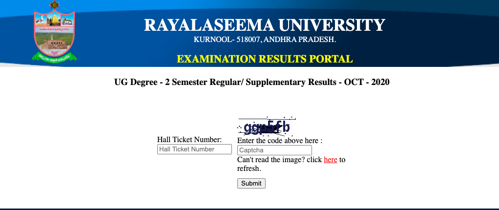 Rayalaseema University Results 2020 PUBLISHED