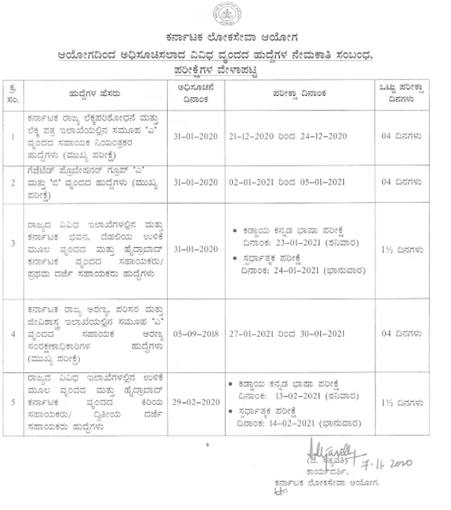 KPSC SDA FDA exam date notice 2021 download