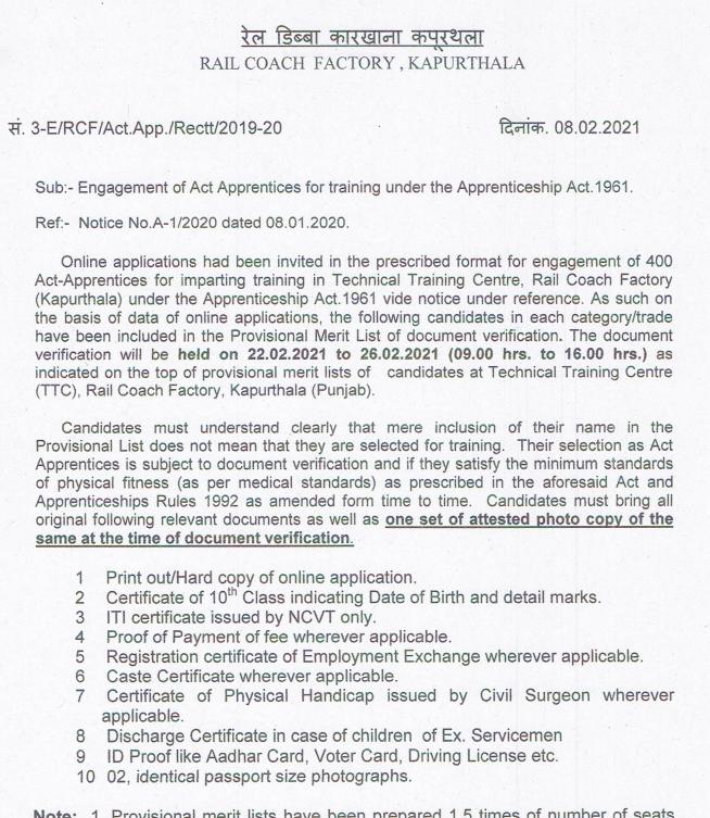 rcf kapurthala apprentice merit list 2021 download - check result online for documents verification