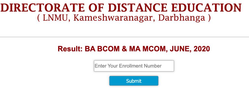 dde lnmu result 2021 check online for ma msc mcob b.ed odl courses