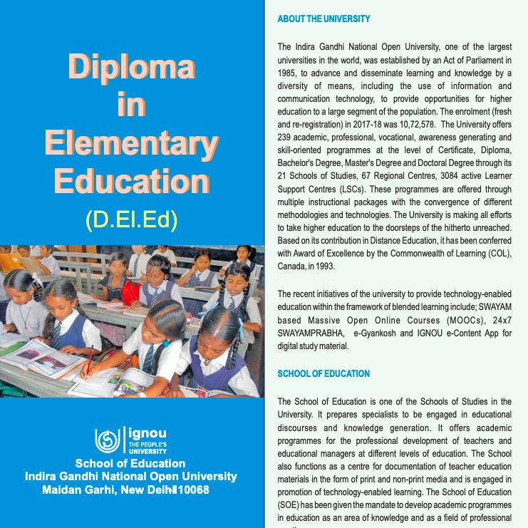 ignou d.el.ed admission 2021 - information brochure download