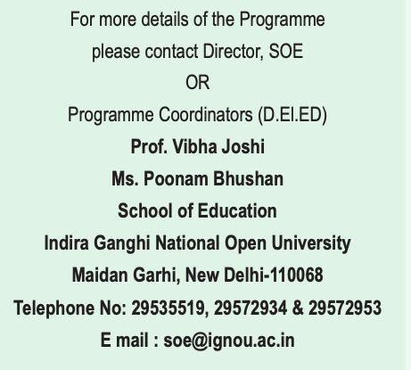 ignou deled contact details for admission