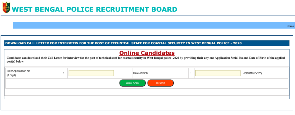 Download WB Police Constable Interview Admit Card 2021