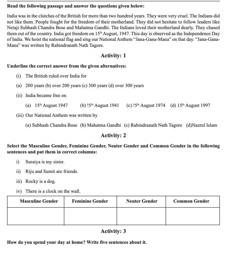 english class 4 part 3 2021 download model activity task banglarshiksha.gov.in