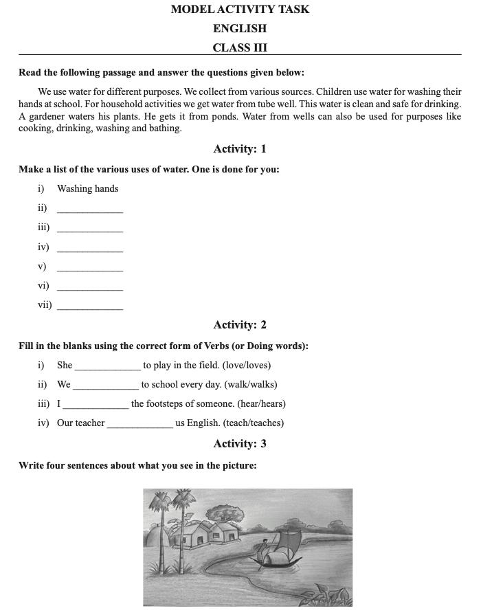 class 3 part III model activity question paper download 2021 www.banglarshiksha.gov.in online pdf