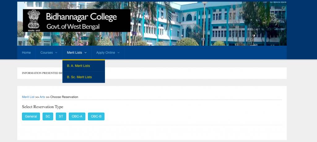 bidhannagar college 1st merit list downloading links announced