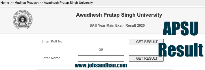 apsu result check online apsurewa.ac.in ba bsc bcom 2nd year