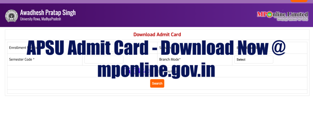 APSU Admit Card 2020 BA BSc BCom Semester 1st 2nd 3rd 4th 5th 6th Rewa