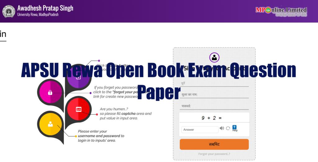 apsu rewa open book exam question paper from mponline.gov.in website sis login