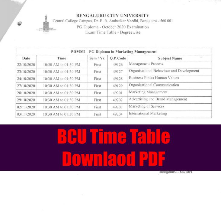 bcu time table 2021 download pdf - check exam date @ bcu.ac.in