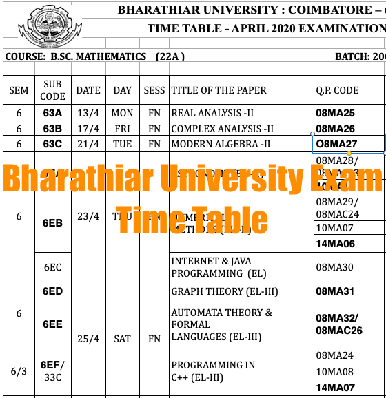 bharathiar university exam time table 2020 download ba bed mba bed distance education exam date