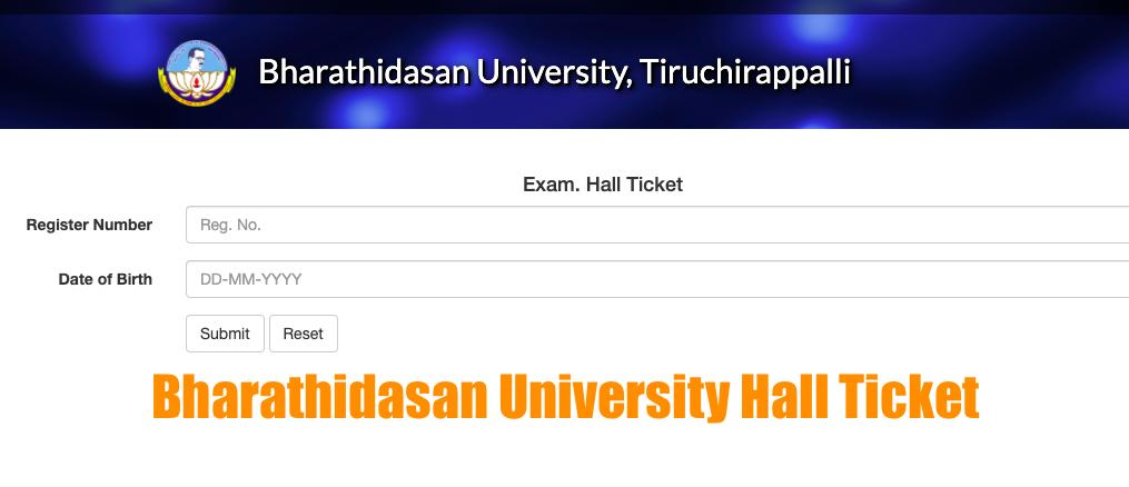 bharathidasan university hall ticket 2020 download online for semester & dde distance education