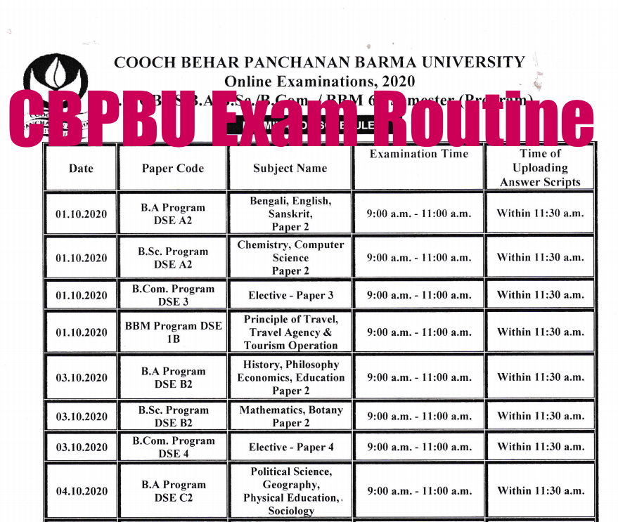 cbpbu exam routine download links for all semester exams