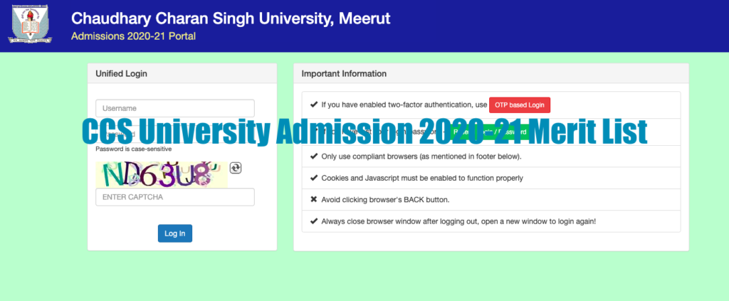 ccsu merit list 2020 ug pg 1st cut off list of ccs university download