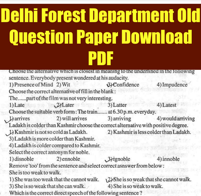 delhi forest guard previous years question paper download pdf solved old paper