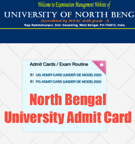 downloading screen of north bengal university admit card 2020 for ug pg