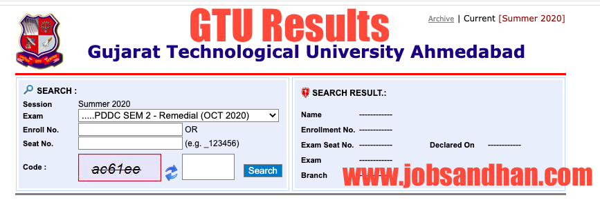 gtu results checking screen - enter your details in the form