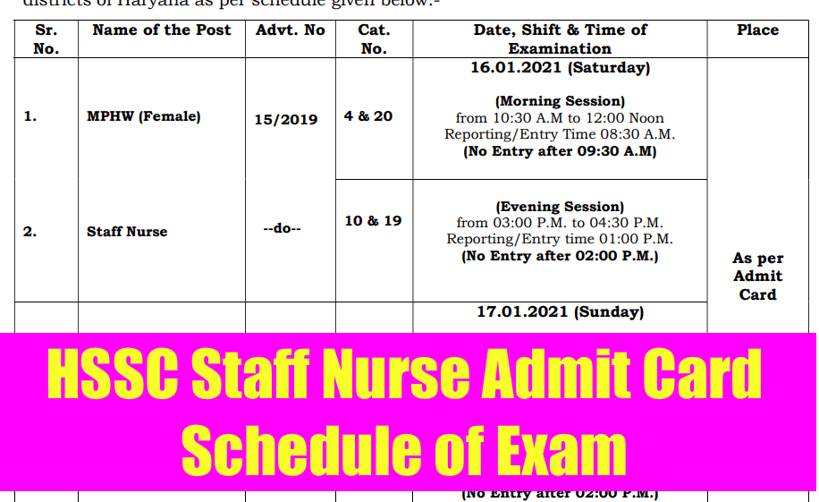 haryana ssc staff nurse exam schedule 2021 declared. admit card download link released on 6th January 2021