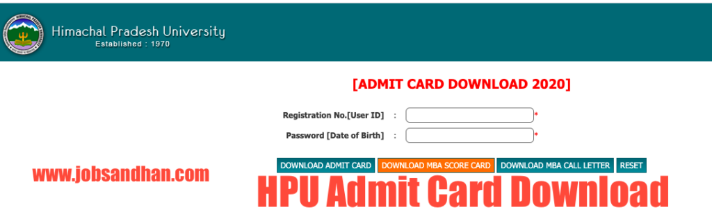 hpu admit card 2020 download ba, bsc, bcom admission hpuniv.ac.in