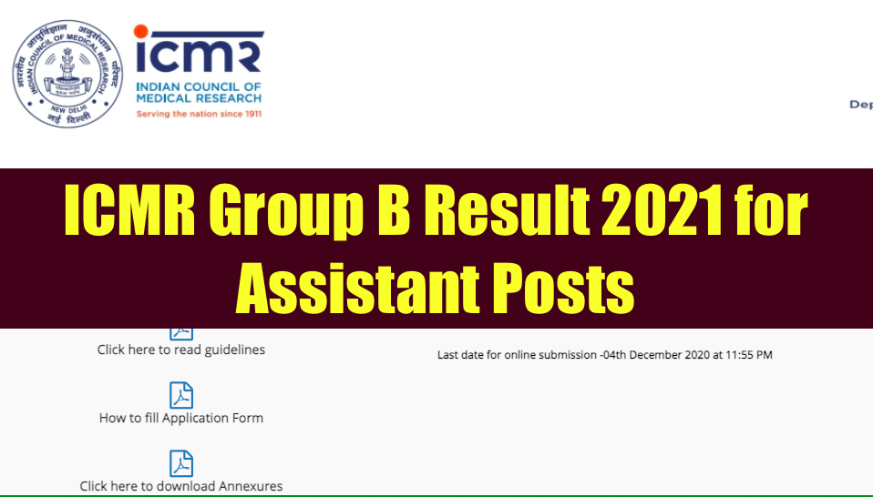 icmr group b assistant result 2021 check online cut off marks