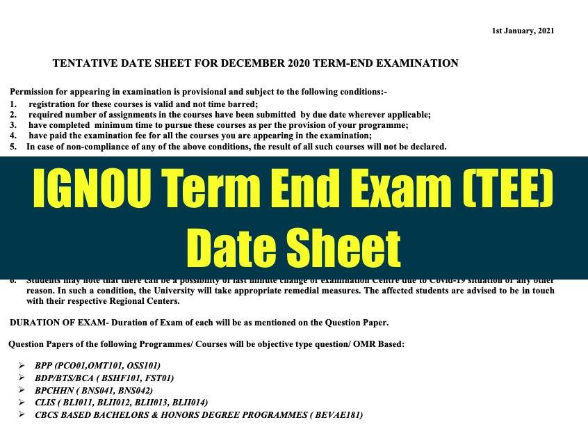 ignou term end exam tee date sheet 2021 download exam date schedule pdf for December 2020 Exam