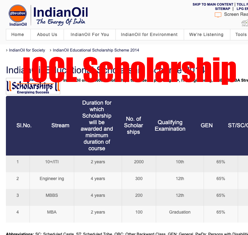 indian oil scholarship 2020 iocl scholarship application form last date
