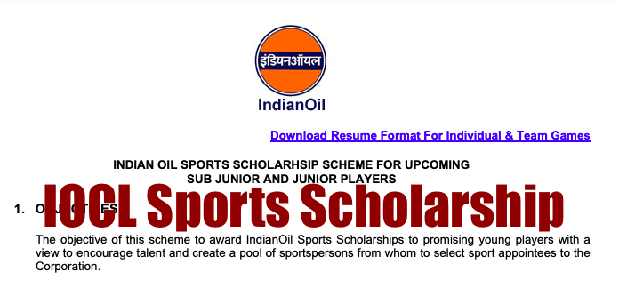 iocl sports scholarship 2021 application form - eligibility criteria, registration