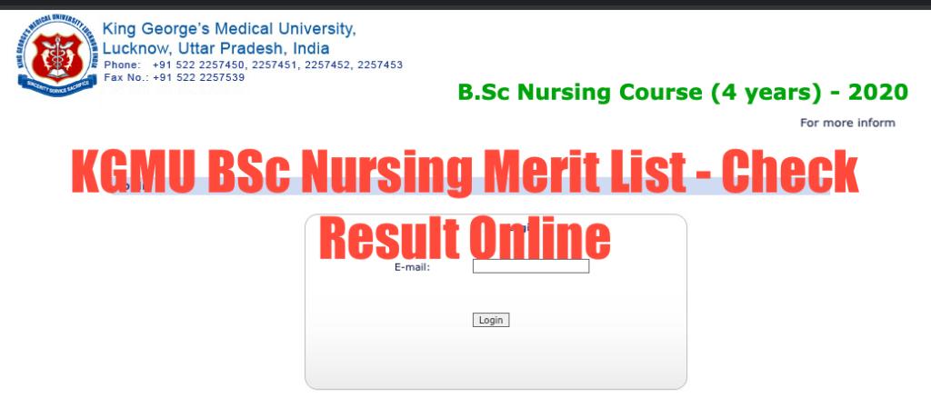 kgmu b.sc nursing result 2020 admission merit list download