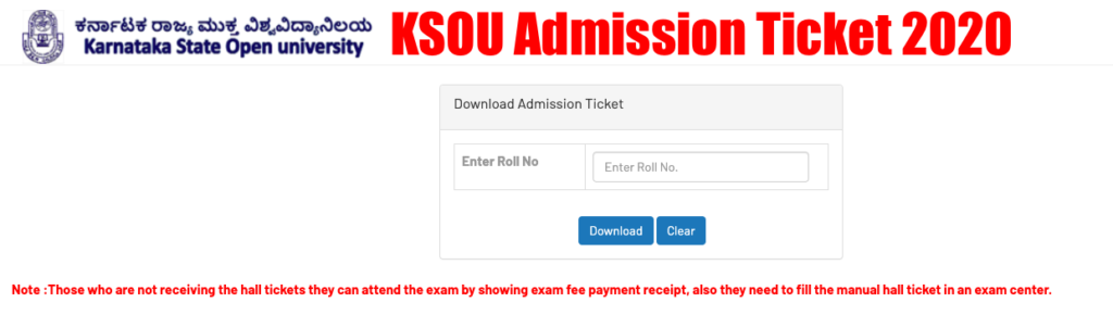 KSOU Mysore Hall Ticket 2020 BA MA Download Admission Ticket