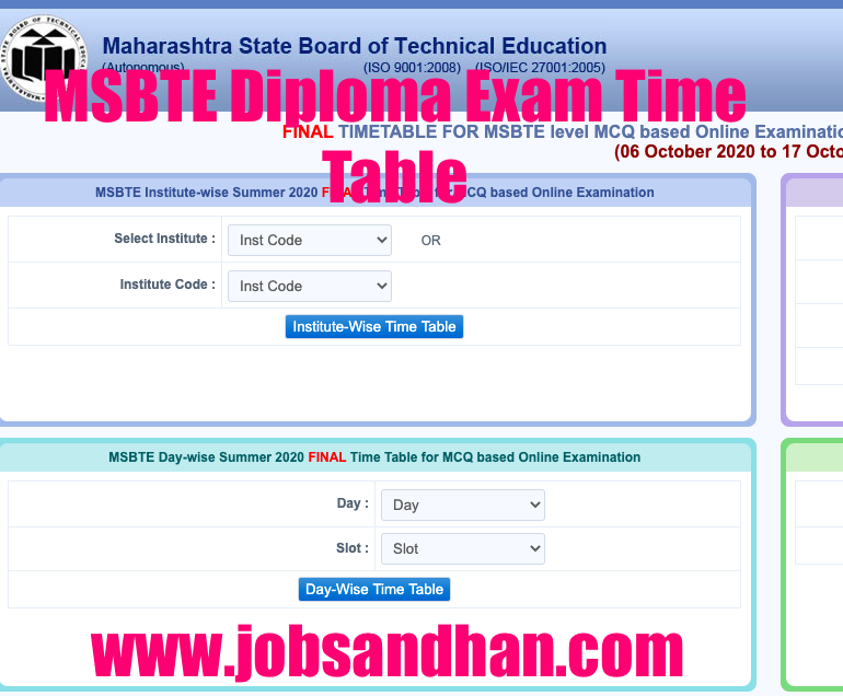 msbte diploma exam 2020 time table download pdf 1st 2nd 3rd 4th 5th 6th semester summer & winter
