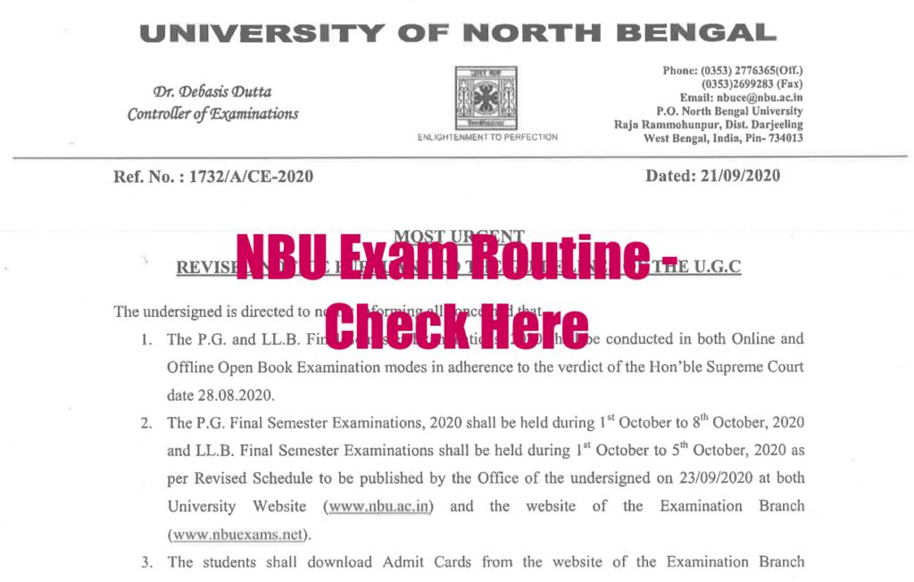 nbu exam routine 2020 download now