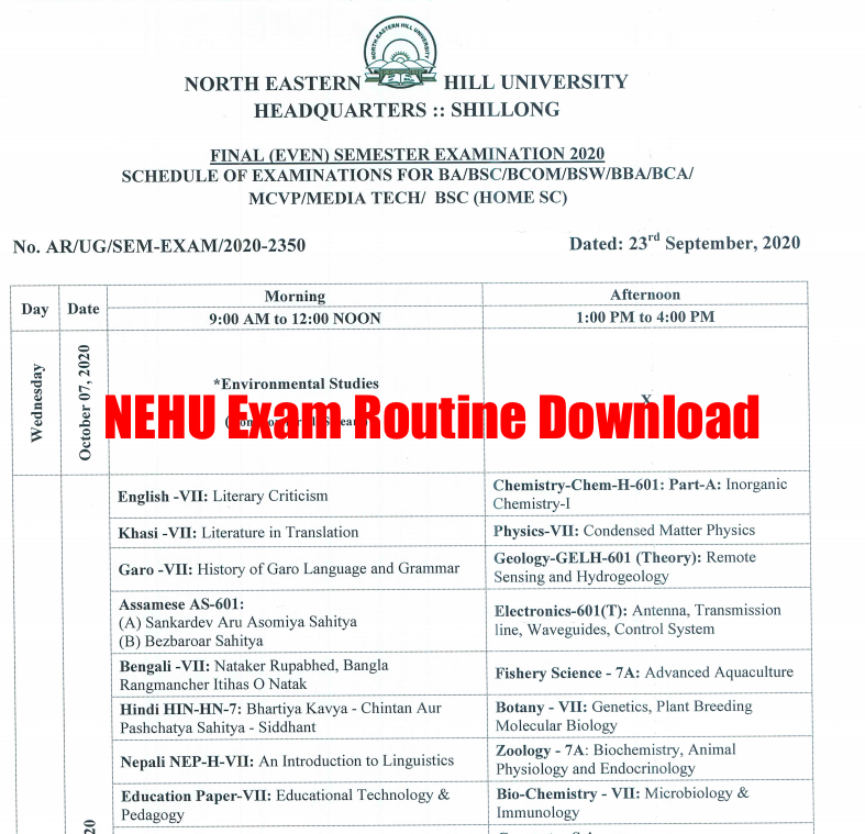 nehu exam routine 2020 download for UG PG Courses