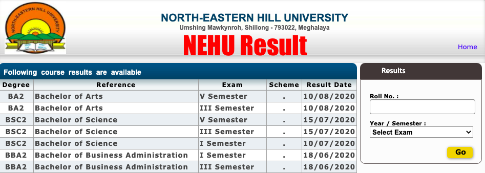 nehu result 2020 ug pg marksheet checking screen