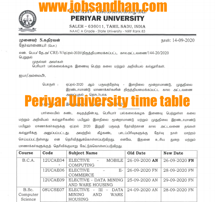 periyar university ug pg semester exam time table 2020 check exam dates