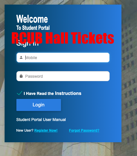 RCUB Hall Ticket 2020 Download Exam Hall Ticket rcub.ac.in