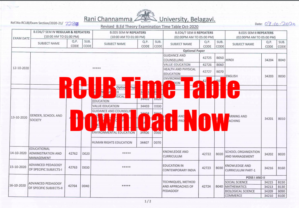 rcub time table 2020 download exam date for sem exams Ug pG