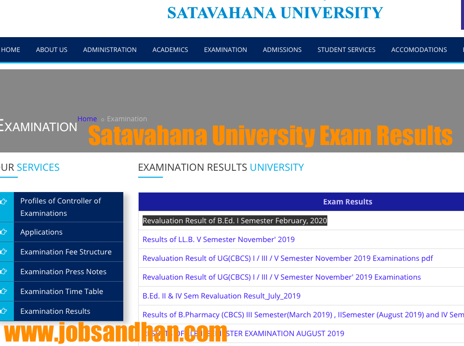 satavahana university semester exam results check online 2020