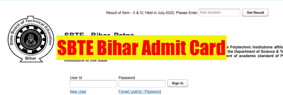 sbte bihar online diploma semester admit card 2020 download now