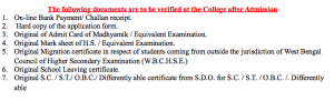 documents during admission