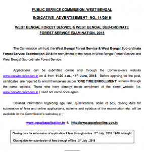 wbpsc west bengal forest service notification 2018