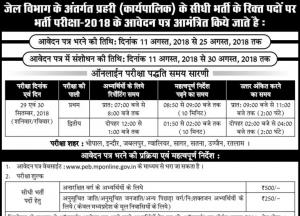 mppeb jail prahari recruitment test exam 2018 madhya pradesh mp vyapam