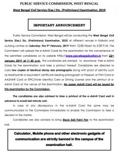 wbcs admit card release notice